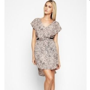 Bcbg belted dress with beautiful pattern.